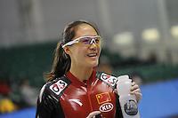 SCHAATSEN: SALT LAKE CITY: Utah Olympic Oval, 12-11-2013, Essent ISU World Cup, training, Beixing Wang (CHN), ©foto Martin de Jong