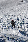 Winter hiker on the North Twin Spur Trail near the summit of South Twin Mountain in the White Mountains, New Hampshire during the winter months.