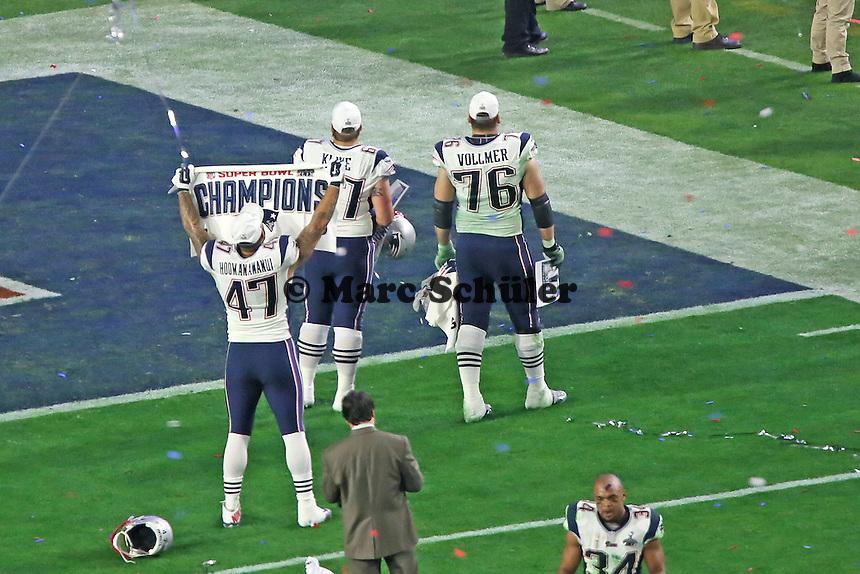 Sebastian Vollmer (Patriots) gewinnt zum ersten Mal den Super Bowl - Super Bowl XLIX, Seattle Seahawks vs. New England Patriots, University of Phoenix Stadium, Phoenix