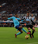 4th November 2017, St James Park, Newcastle upon Tyne, England; EPL Premier League football, Newcastle United Bournemouth; Ciaran Clark of Newcastle United and Jordon Ibe of AFC Bournemouth battle for the ball near the goal line in the second half