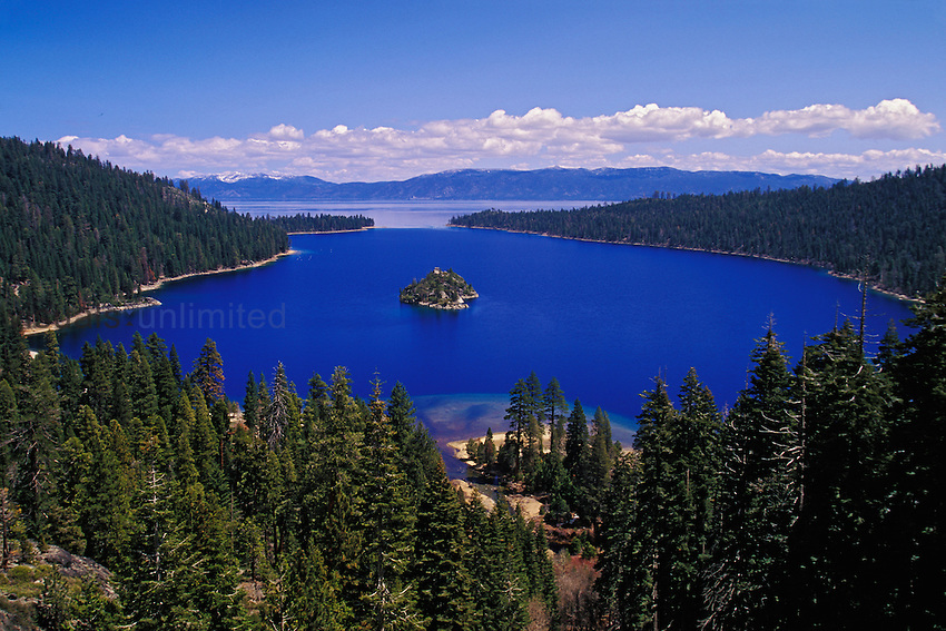 Emerald Bay and distant Lake Tahoe, Sierra Nevada Mountains, California, USA.