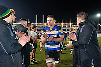 Charlie Ewels leads the Bath Rugby team off the field after the match. Aviva Premiership match, between Bath Rugby and Northampton Saints on February 10, 2017 at the Recreation Ground in Bath, England. Photo by: Patrick Khachfe / Onside Images
