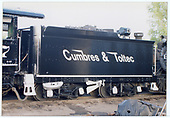 Fireman's side view of C&amp;TS #497 tender with a fresh paint job showing the &quot;Speed&quot; lettering.<br /> C&amp;TS  Chama, NM  Taken by Dorman, Richard L.