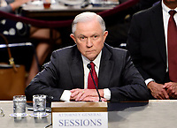 "United States Attorney General Jeff Sessions gives testimony before the US Senate Select Committee on Intelligence to  ""examine certain intelligence matters relating to the 2016 United States election"" on Capitol Hill in Washington, DC on Tuesday, June 13, 2017.  In his prepared statement Attorney General Sessions said it was an ""appalling and detestable lie"" to accuse him of colluding with the Russians. Photo Credit: Melina Mara/CNP/AdMedia"