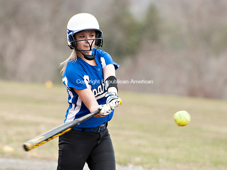 LITCHFIELD, CT-14 April 2015-041415EC07-  Lewis Mills' Julia Arel makes a base hit Tuesday against Litchfield. Erin Covey Republican-American