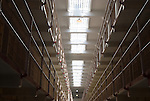 Rows of cells in the mail cell house of Alcatraz Prison in San Francisco, California.