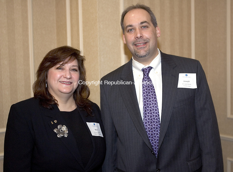 WATERBURY, CT. 24 January 2008-012408SV15--Mary Schmelcke of the Savings Bank of Danbury and Joseph Bottone of the Worx Group at the Waterbury Regional Chamber&rsquo;s 11th annual Harold Webster Smith Awards held at the Crowne Plaza Hotel in Southbury Thursday.<br /> Steven Valenti Republican-American