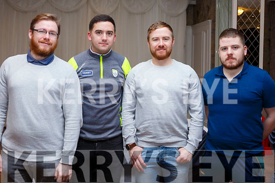 Johnathan Quirke (Abbeydorney), Stuart O'Connor (Tralee), David Scollard (Tralee) and Damien O'Ciosain (Lixnaw) taking part in the Pieta House Quiz night in the Rose Hotel on Thursday night last.