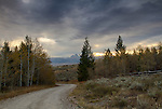 Idaho, Eastern, Driggs. A road in the foothills of the Bighole Mountains in autumn with the Teton Range Distant.