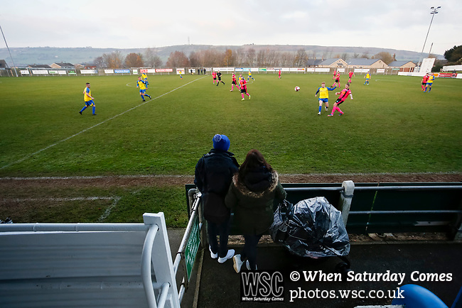 Pickering fans watch their team attack in front of the Jamie Vardy Stand. Stocksbridge Park Steels v Pickering Town,  Evo-Stik East Division, 17th November 2018. Stocksbridge Park Steels were born from the works team of the local British Steel plant that dominates the town north of Sheffield.<br />