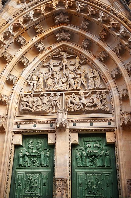 Front door of Hradcany St. Vitus cathedral - Castle area - Prague Czech Republic