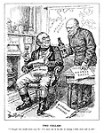 """Two Cellars. """"I thought that would warm you, sir: I'm sorry not to be able to manage a little more coal as well."""" (Churchill offers John Bull good news with a glass of port, Azores Bases, and Submarine Sinkings amid news of a Decrease in Mines Output)"""