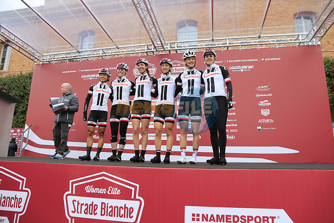 Team Sunweb at sign on before the start of the Ladies 2017 Strade Bianche running 127km from Siena to Siena, Tuscany, Italy 4th March 2017.<br /> Picture: Eoin Clarke | Newsfile<br /> <br /> <br /> All photos usage must carry mandatory copyright credit (&copy; Newsfile | Eoin Clarke)