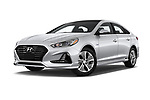 Stock pictures of low aggressive front three quarter view of a 2018 Hyundai Sonata Hybrid Limited 4 Door Sedan