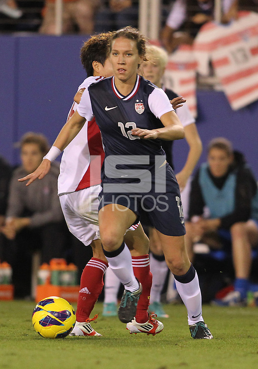 BOCA RATON, FL - DECEMBER 15, 2012: Lauren Cheney (12) of the USA WNT  during an international friendly match against China at FAU Stadium, in Boca Raton, Florida, on Saturday, December 15, 2012. USA won 4-1.
