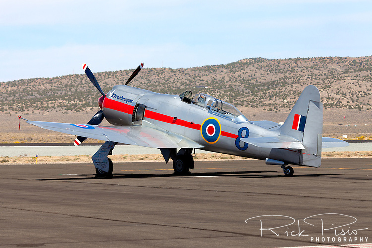 """Hawker Sea Fury """"Dreadnought"""" on the ramp at the 2012 Reno National Championship Air Races."""