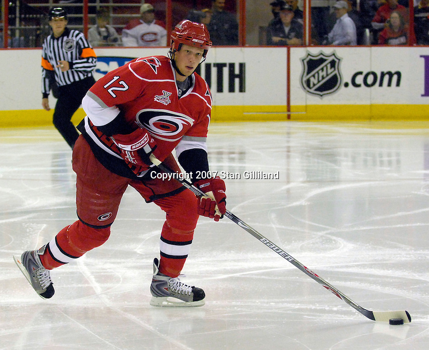 Carolina Hurricanes Eric Staal carries the puck against the Montreal Canadiens Friday, Oct. 26, 2007 in Raleigh, NC. The Canadiens won 7-4.