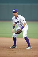 Winston-Salem Dash first baseman Zach Remillard (7) on defense against the Frederick Keys at BB&T Ballpark on July 26, 2018 in Winston-Salem, North Carolina. The Keys defeated the Dash 6-1. (Brian Westerholt/Four Seam Images)