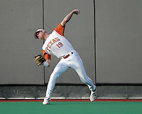Texas RF Kyle Russell throws against Texas A&M on May 16th, 2008 in Austin Texas. Photo by Andrew Woolley / Four Seam Images.