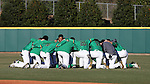 CARY, NC - MARCH 03: Notre Dame's players form a prayer circle before the game. The University of Maryland Terrapins played the University of Notre Dame Fighting Irish on March 3, 2017, at USA Baseball NTC Stadium Field in Cary, NC in a Division I College Baseball game, and part of the Irish Classic tournament. Maryland won the game 4-3.