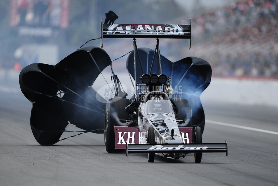 Mar. 11, 2012; Gainesville, FL, USA; NHRA top fuel dragster driver Shawn Langdon during the Gatornationals at Auto Plus Raceway at Gainesville. Mandatory Credit: Mark J. Rebilas-