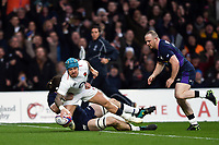 Jack Nowell of England scores the opening try of the match. Guinness Six Nations match between England and Scotland on March 16, 2019 at Twickenham Stadium in London, England. Photo by: Patrick Khachfe / Onside Images
