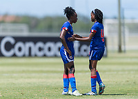 Bradenton, FL - Sunday, June 12, 2018: Melchie Dumonay, Ruthny Mathurin prior to a U-17 Women's Championship 3rd place match between Canada and Haiti at IMG Academy. Canada defeated Haiti 2-1.
