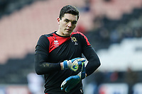 Goalkeeper Lee Nicholls of MK Dons warms up ahead of the Sky Bet League 1 match between MK Dons and AFC Wimbledon at stadium:mk, Milton Keynes, England on 13 January 2018. Photo by David Horn.