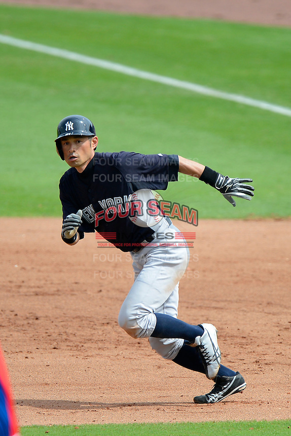 New York Yankees outfielder Ichiro Suzuki #31 during a Spring Training game against the Philadelphia Phillies at Bright House Field on February 26, 2013 in Clearwater, Florida.  Philadelphia defeated New York 4-3.  (Mike Janes/Four Seam Images)