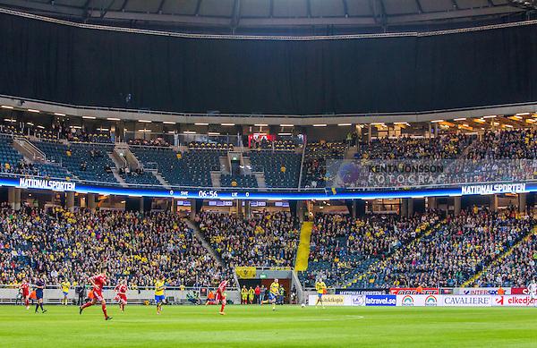 Solna 2014-10-12 Fotboll EM-kval , Sverige - Liechtenstein :  <br /> Vy &ouml;ver Friends Arena med publik , tomma stolar och &ouml;vre etage p&aring; l&auml;ktaren t&auml;ckt med ett draperi<br /> (Photo: Kenta J&ouml;nsson) Keywords:  Sweden Sverige Friends Arena EM Kval EM-kval UEFA Euro European 2016 Qualifying Group Grupp G Liechtenstein supporter fans publik supporters inomhus interi&ouml;r interior