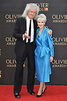 Brian May and Anita Dobson<br /> The Olivier Awards 2018 , arrivals at The Royal Albert Hall, London, UK -on April 08, 2018.<br /> CAP/PL<br /> &copy;Phil Loftus/Capital Pictures