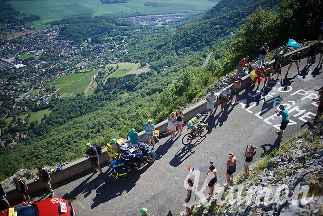 Rafal Majka (POL/Tinkoff) coming up the Lacets du Grand Colombier (Cat1/891m/8.4km/7.6%) as stage leader<br /> <br /> stage 15: Bourg-en-Bresse to Culoz (160km)<br /> 103rd Tour de France 2016