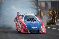 Apr 12, 2019; Baytown, TX, USA; NHRA funny car driver Robert Hight during qualifying for the Springnationals at Houston Raceway Park. Mandatory Credit: Mark J. Rebilas-USA TODAY Sports