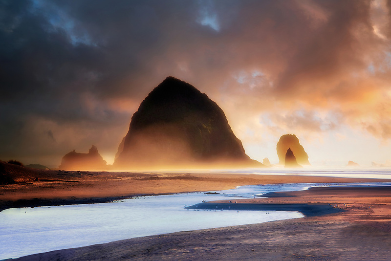 Ecola Creek and hikers at Cannon Beach. Oregon