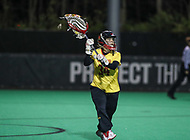 College Park, MD - April 19, 2018: Maryland Terrapins Megan Taylor (34) makes a pass during game between Penn St. and Maryland at  Field Hockey and Lacrosse Complex in College Park, MD.  (Photo by Elliott Brown/Media Images International)