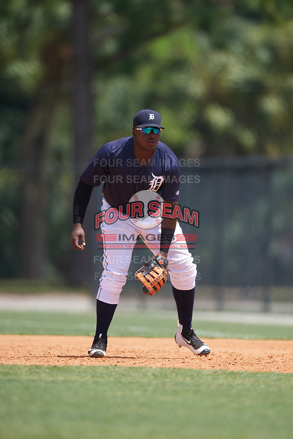 GCL Tigers East first baseman Luis Laurencio (29) during a game against the GCL Tigers West on August 8, 2018 at Tigertown in Lakeland, Florida.  GCL Tigers East defeated GCL Tigers West 3-1.  (Mike Janes/Four Seam Images)