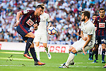 Real Madrid's player Nacho Fernandez and Eibar FC's player Sergi Enrich during a match of La Liga Santander at Santiago Bernabeu Stadium in Madrid. October 02, Spain. 2016. (ALTERPHOTOS/BorjaB.Hojas)