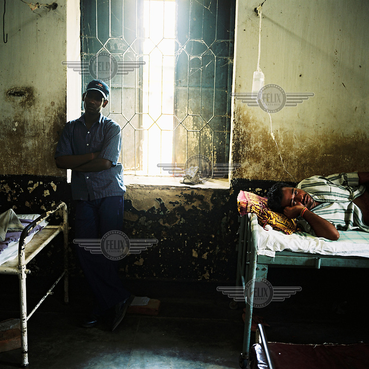 Patients in a hospital in Orissa state.