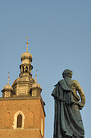 Poland, Krakow, St. Mary's Church, and  Statue of Adam Mickiewicz, Rynek Glowny, Grand Square