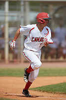 Canada Junior National Team Joshua Jones (25) runs to first base during an exhibition game against the Philadelphia Phillies on March 11, 2020 at Baseball City in St. Petersburg, Florida.  (Mike Janes/Four Seam Images)