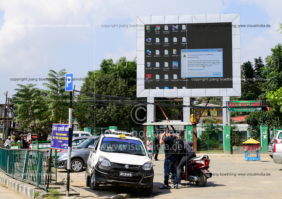 NEPAL Kathmandu, Microsoft windows advertisement for legal software and against counterfeit products