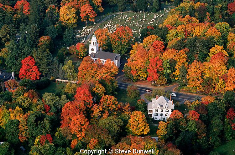 Church aerial view autumn, Berkshires, Lenox, MA