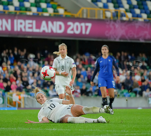 August 17th 2017, Windsor Park, Belfast, Northern Ireland; Womens Under 19s European Championship Semi Final; Germany Versus France; With seconds left Laura Freigang of Germany has a chance but slips while taking her shot