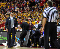 Coach Mike Krzyzewski of the Blue Devils is hot under the collar as he argues a call. Maryland defeated Duke 79-72 at the Comcast Center in College Park, MD on Wednesday, March 3, 2010. Alan P. Santos/DC Sports Box