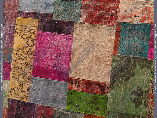 Carpet made of colorful patches of recycled vintage carpets
