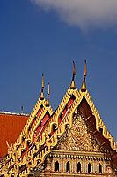 Gilded roof of the Ordination Hall (Ubosot Hall) at Wat Benchamabophit, Bangkok, Thailand.  Also known as the Marble Temple