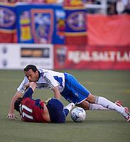 Real Salt Lake FW Javier Morales and San Jose Earthquakes MF Ramiro Corrales in the Real Salt Lake 3-1 win over San Jose Earthquakes on May 31, 2008 at Rice-Eccles Stadium in Salt Lake City, Utah