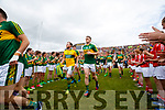 Brendan Kealy, Stephen O'Brien Kerry team takes to the field before the Munster Senior Football Final at Fitzgerald Stadium on Sunday.