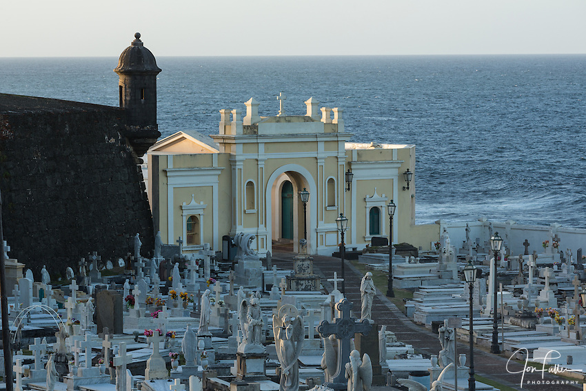 The Cemetery of Maria Magdalena de Pazzis by the ocean, outside the city wall of Old San Juan, Puerto Rico, and near the Castillo San Felipe del Morro.