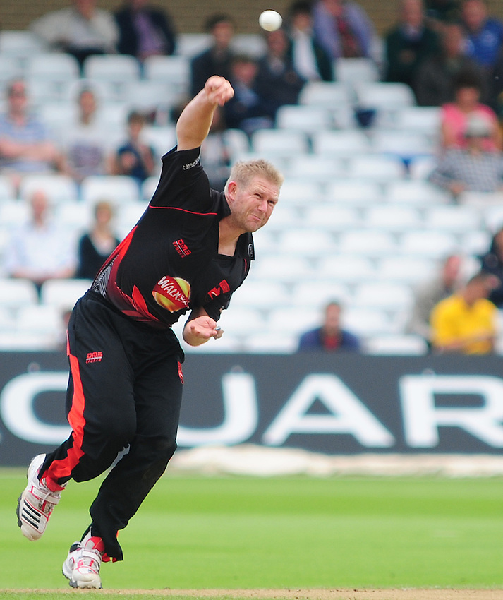 Leicestershire Foxes' Matthew Hoggard bowling..County Cricket - Friends Life t20 - Notts Outlaws v Leicestershire Fozes - Sunday 8th July 2012 - Trent Bridge - Nottingham..